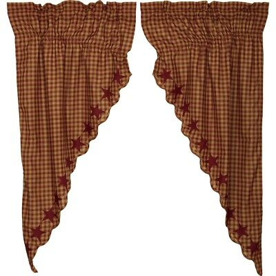 VHC Burgundy Star Scalloped Prairie Curtain  Farmhouse Country