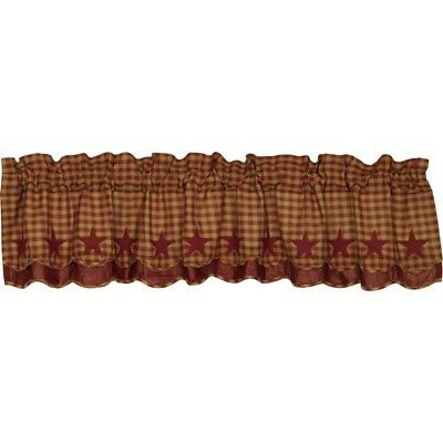 VHC Burgundy Star Scalloped Layered Valance 16x72  Farmhouse Country
