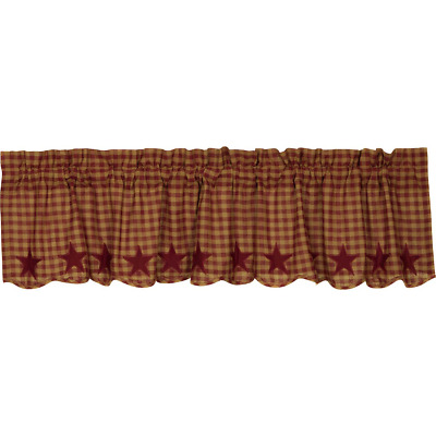 VHC Burgundy Star Scalloped Valance 16x72  Farmhouse Country