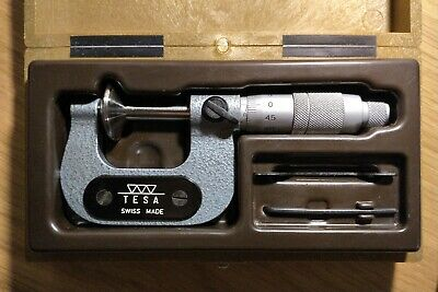 "TESA disc Micrometer 0-1"" 25mm Swiss Made Boxed Complete with Tools"