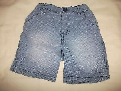 Mothercare Baby Boys Blue & White Checked Faded Shorts Age 3-6 Months