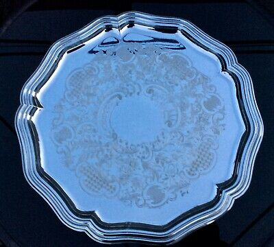 "Vintage LARGE 16 1/4"" Diameter Ornate Silver Plated Tray,Lovely Chased Pattern"