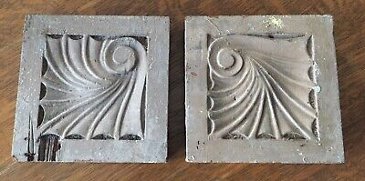Antique Original Two Wood Door Trim Architectural Decorative Rosettes Salvage