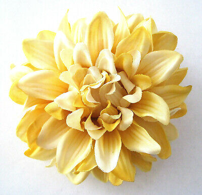 """4.5"""" Variegated Yellow Cream Poly Silk Dahlia Flower Hair Clip,Pin Up,Updo,Hat"""