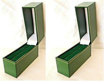 2 x Luxury Double Ring Cufflink Green Faux Leatherette Presentation Gift Box