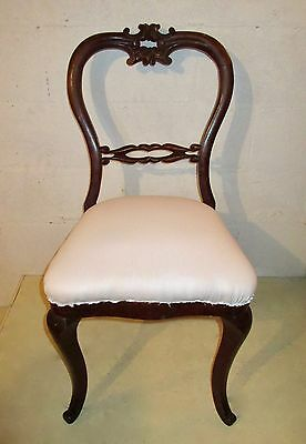 "19th C VICTORIAN""BALLOON-BACK"" PARLOR/ VANITY/ DESK/ SIDECHAIR partial restored"