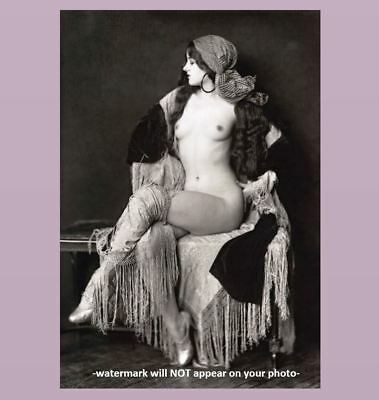 1927 Erotic Nude Flapper Girl PHOTO Luscious Breasts Hoop Earrings,ZIegfeld Girl