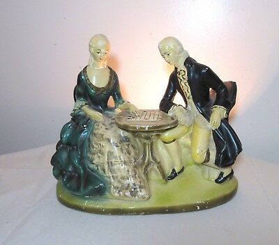 rare vintage hand painted figural couple checkers chalkware statue tv table lamp