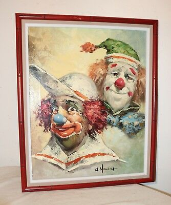 vintage original William Moninet expressive two clown oil painting on canvas