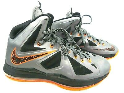 5f4726cdca5e7 NIKE LEBRON X 10 Charcoal Total Orange Black Lava Mens Size 8.5 ...