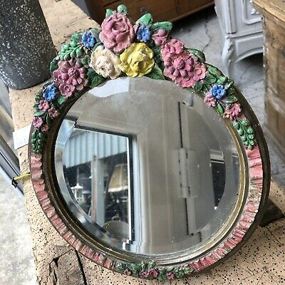 Vintage beautiful Large Barbola Flower Round Mirror Bevelled Edge