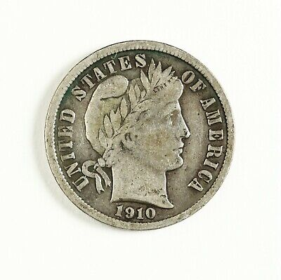 Raw 1910 Barber 10C Uncertified Ungraded Philadelphia Mint Silver Dime Coin