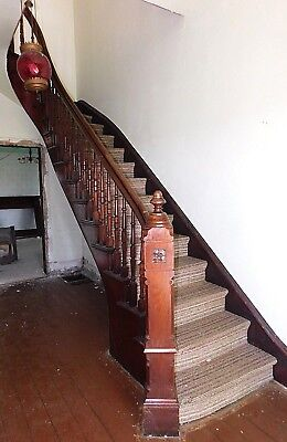 1870's Wood STAIRCASE Newels Railing Trim Stairs Walnut VICTORIAN Style ORNATE