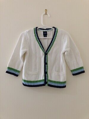 Baby Gap Boy Cotton Wool Knit Cardigan Sz 0 (6-12 Months) White Green Blue BNWOT