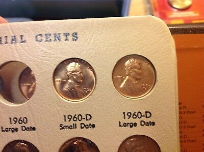 1960-D Small Date & 1960-D Large Date BU  LINCOLN CENTs , 2 coins