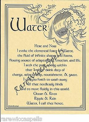WATER ELEMENT WICCA Book of Shadows Pagan Occult Spell 1pg parchment