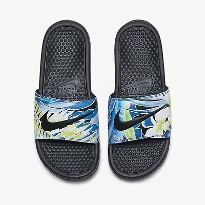 6056599f93c3 New Nike Benassi JDI Floral Slide Sports Sandals Slippers - Black(618919 -029)