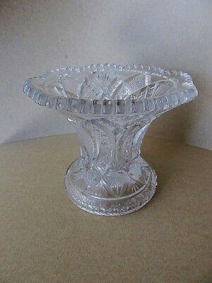 Beautiful Old Pressed Glass Vase, Ornate, Heavy