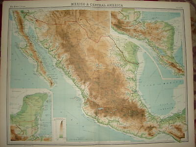 "1920 LARGE MAP ~ MEXICO ~ CENTRAL AMERICA ~ 23"" x 18"""