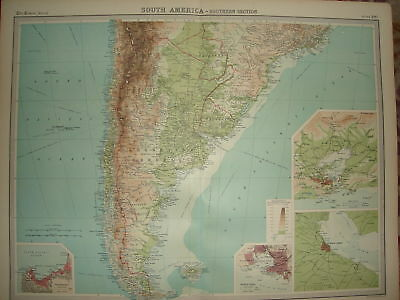 "1920 LARGE MAP SOUTH AMERICA SOUTHERN SECTION 23"" x 18"""