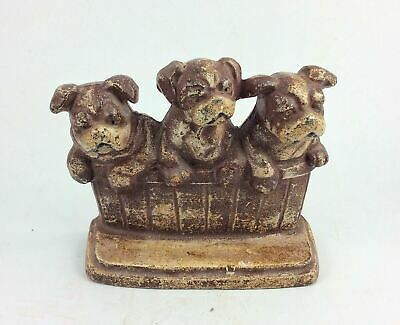 Antique cast iron English Bulldog puppies in barrel doorstop Wilton M Rothstein