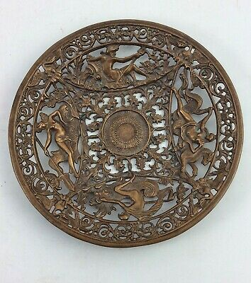 Antique Victorian bronze Yale & Towne calling card tray dish Greek Mythology Y&T