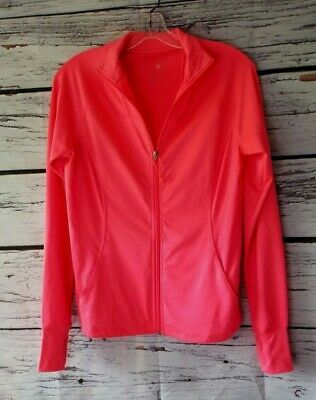 Clothing, Shoes & Accessories Tangerine Womens Sherbet Orange Athletic Running Zip Up Jacket Size M Thumbholes