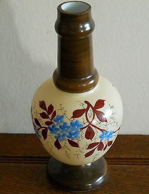 A vintage / antique hand painted glass lamp body with blue flowers