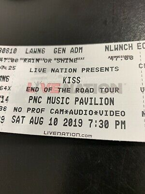2 Kiss Tickets End Of The Road Tour Charlotte , NC Lawn Tickets W 2 Chair Rental