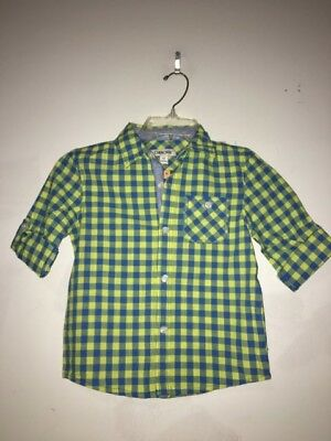 NWT New With Tag Cherokee Blue Neon Yellow Shirt Plaid Boys Kids Size 5T