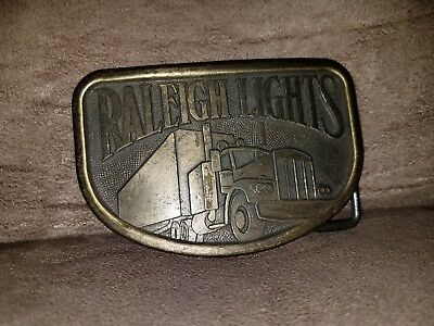Raleigh Lights Cigarettes Advertising Trucker  Belt Buckle With Semi Truck