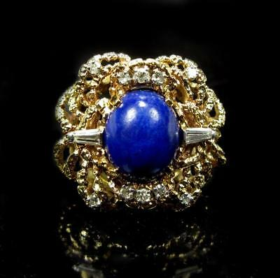 Antique 1930's 6CT Lapis Lazuli Diamond Cocktail Engagement Ring 14K Yellow Gold