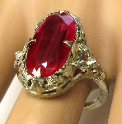 Antique 1930's Lab Grown Ruby 5.2CT Engagement Cocktail Ring 14K White Gold