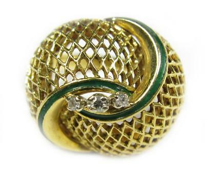 1930's Art Deco Women's Diamond Green Enamel Cocktail Ring 18K Yellow Gold