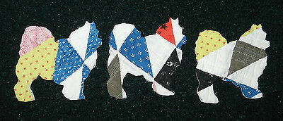 10 ANTIQUE CUTTER QUILT AMERICAN ESKIMO DOGS! WOW! Scrapbooking! Applique! 1