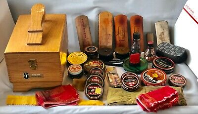 Vintage Esquire Shoe Care Chest Shoe Shine Valet Box with 32 items included