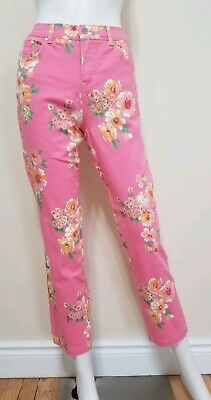 Charter Club Jean Shop Womens Size 4 Stretch Pink Floral Crop Pants Inseam 28