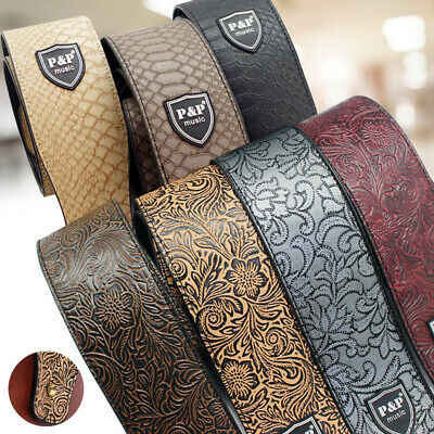 PU Leather Guitar Strap Shoulder Belt Embossed For Electric Acoustic Bass UK