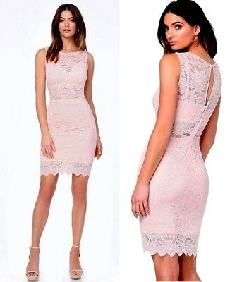 NWT bebe coral blush pink lace overlay cutout bodycon top dress party L large