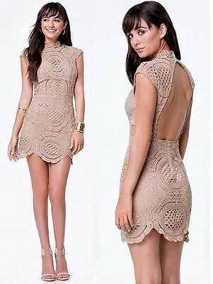 NWT Bebe brown ivory crochet lace open back mock neck mini top dress L large 10