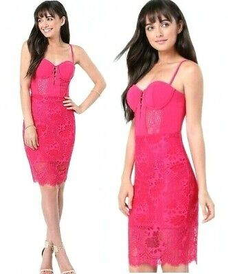 NWT bebe XS size 2 lace midi dress hot pink straps top cutout floral top bustier