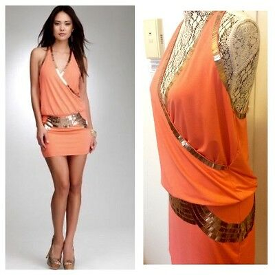 NWT bebe coral gold sequin wrap deep v neck armor raceback top dress XS 0 2 sexy