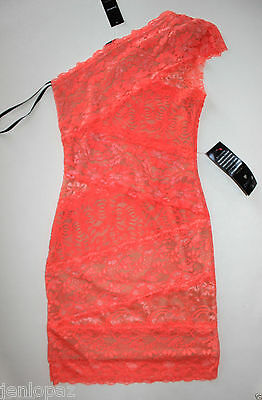 NWT Bebe coral pink lace dress one shoulder ivory overlay mixed vegas top XXS 0
