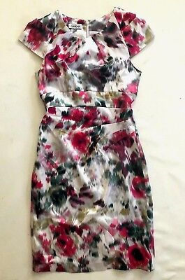 NWT bebe Silk pink multi color floral printed top midi dress sexy XS 0 2 party