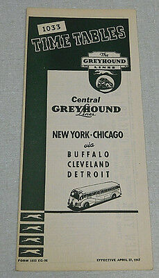 VINTAGE GREYHOUND TIME Table 1947 - $7 00 | PicClick