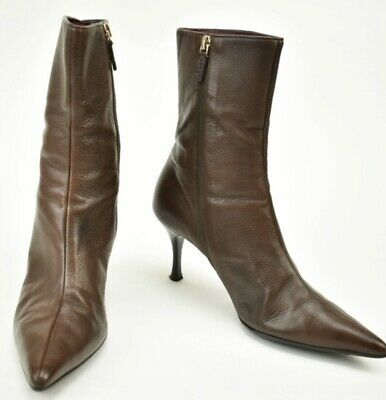 c505d339b78 Gucci Logo Dark Brown Leather Pointed Toe Ankle Booties Boots Heel Zip Up 8  UK 6