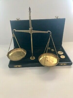 Antique Brass Scale And Weights Set