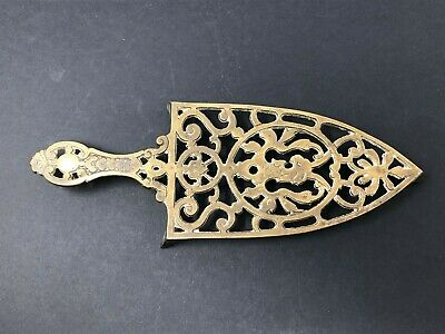 Vintage Brass Trivet Hot Iron Plate Stand, Ornate Decorative
