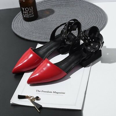 5be9110ad83a New Women s Pointy Toe Buckle Strap Flats Shoes Flats Leather Sandals size