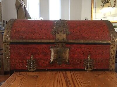 Antique Indian Wedding/ Dowry Trunk Timber And Brass
